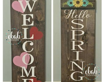 Reversible Porch Sign - Valentines Sign - Spring Sign - Porch Sign - Easter Sign - Valentines Day Sign - Valentine Porch Sign - Valentine's