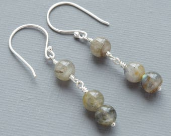 Enigmatic Labradorite Gemstone Minimalist Sterling Silver Earrings With Blue, Green and Violet Flash For Your Best Friend and Confidante