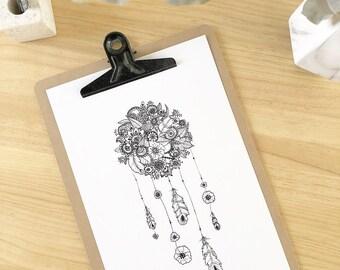 Poster dreamcatcher flower 20 x 30