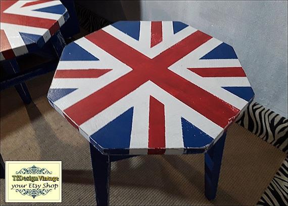 Taburetes bandera inglesa, 2 taburetes estilo industrial bandera inglesa, Taburete madera, Taburete original, Taburete habitación juvenil