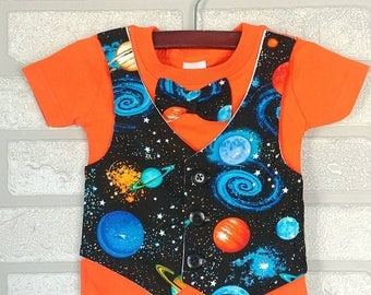 Galaxy Bow Tie and Vest T-shirt