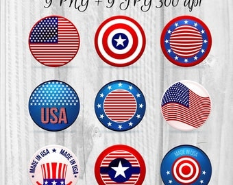 9 USA style digital badges Independence Day clipart Instant download 4th July day US flag clipart US symbols illustration
