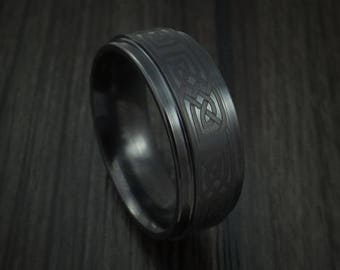 Black ceramic celtic ring custom made band