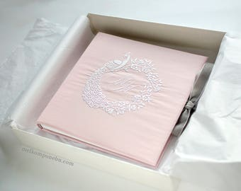 Embroidery Wedding Guest Book Peacock Wreath Sacura with gift box custom FREE SHIPPING