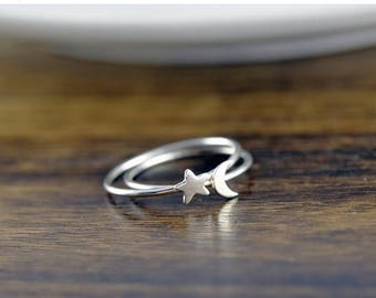 10% off SALE Sterling Silver Moon and Star Ring Set - Crescent Moon Ring, Silver Moon Ring, Silver Star Ring, Stacking Rings, Celestial Jewe
