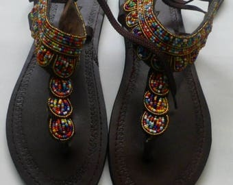 African Maasai Beaded Sandals | Brown Mixed Color Beaded Sandals | Elegant Sandals | Leather Sandals | Summer Sandals | Unique |Gift For Her