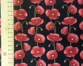 Poppy Fabric 100% Cotton Material By Metre Poppies Flowers Floral Colourful Patchwork Cushions Bags Bunting