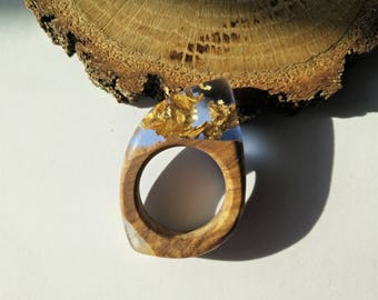 Wood Resin Ring, Made in Italy, Handmade Ring, B.Colors n.2, Unique piece, Wood resin jewelry, Handmade Jewelry