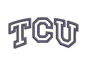 6 sizes -  Texas Christian University Embroidery Design, Texas Christian University Applique Design, TCU Applique Design, TCU Embroidery