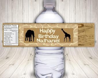 Safari Birthday, Water Bottle Label, Jungle Birthday, Safari Party, Jungle Party, Jungle Animals, Zoo Birthday Party, Safari Baby Shower