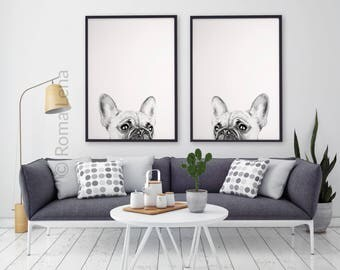 PEEKABOO Black And White Poster Set Of 2 Brench Bulldog Wall Art Watercolor  Painting Art Print