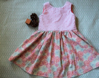 Girls Party Dress-Coral, White and Blue: Size 4T