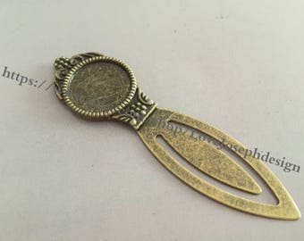 3 Pieces /Lot Antique Bronze Plated 18mm cabochon Bookmarks charms (#0159)