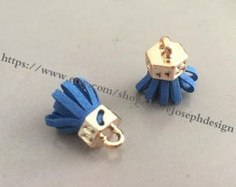 20pieces Royal blue suede leather KC gold caps ear tassel --for length 30mmx20mm(#0189)