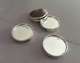 50 Pieces /Lot Antique Silver Plated 20mm slide bracelet blanks cabochon bezel trays charms (#0144)