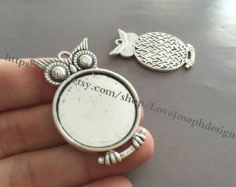 wholesale 20 Pieces /Lot Antique Silver & Bronze plated 25mm Owl cabochon base trays charms (#0380)