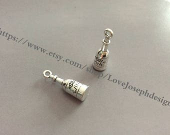 wholesale 100 Pieces /Lot Antique Silver Plated 8mmx26mm wine bottle 2 Sided charms(# 0917)