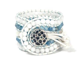 Boho Evriali * 5 strand Statement Wrap Bracelet. Boho Style. Bohemian Jewelry. Semiprecious stones. Gift for her. Unique Design.