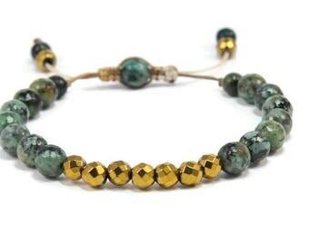 Boho Simple & Chic * Turquoise Mix Adjustable Bracelet. Boho Style. Bohemian Jewelry. Semiprecious stones. Gift for her.