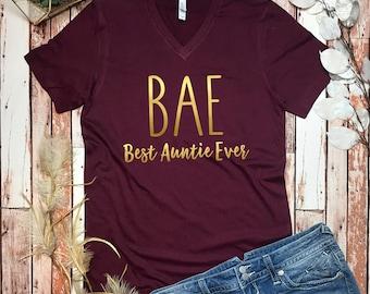 BAE Tee Shirt - Bae Auntie Shirt - Auntie T Shirt Bae - Aunt Shirt - New Auntie Tee Shirt - Bae Tee - Bae Best Auntie Ever Shirt - Aunt Tee