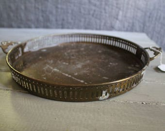 Floral Handle Brass Tray (Patina)