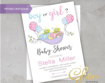 Boy or Girl baby Shower invitation,digital baby shower invitation, Pumpkin, he or she