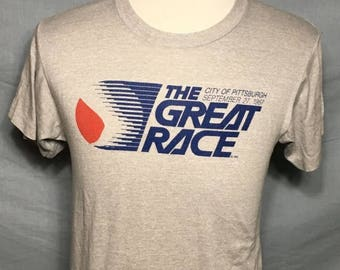 25% OFF SALE Vintage The Great Race 1987 Pittsburgh SOFT Screen Stars t-shirt - vintage tees - running - marathon (Medium)