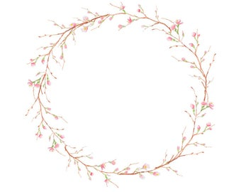Watercolour Sakura Flower Wreath Clip Art Digital Download PNG Vector AI High Resolution Q166