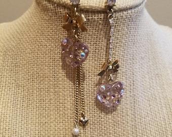 Asymmetric Lucite Gold Tone, Lavendar and Aurora Borealis Earrings