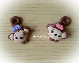 Monkey polymer clay favor baptism baby shower favors birthday favors communion animal favors safari party