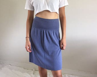 Vintage 90s Chambray Blue Knit Drop Waist Skirt | S/M