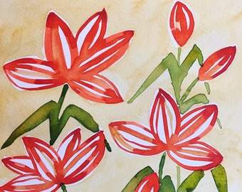 Abstract Tiger Lilies - Original Watercolor Painting