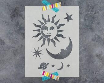 Celestial Sun and Moon Stencil - Reusable DIY Craft Stencils of a Celestial Sun and Moon