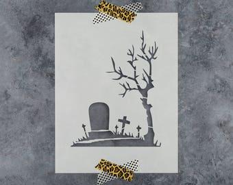 Graveyard Stencil - Reusable DIY Craft Halloween Stencils of a Graveyard Scary Scene