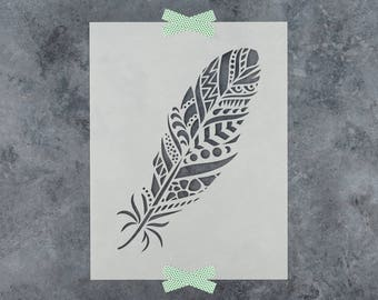 Feather Stencil - Reusable DIY Craft Stencils of a Feather