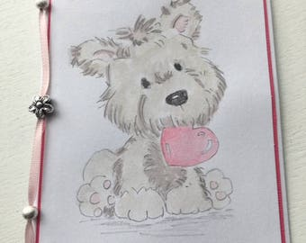 Blank Greetings card - Beads, Love, Dog