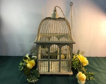 Gorgeous Vintage elaborate off white, wood,wire,all original,1950s handmade birdcage, wedding card holder, spring door, hinged base,sit,hang