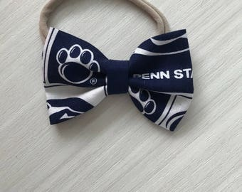 PENN STATE bow - baby pennstate gear- college football bow- baby shower gift - blue and white - alligator clip - nitony lions bow- nylon bow