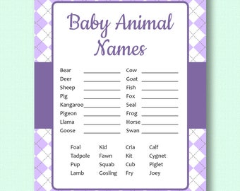 Baby Animal Names - Purple Argyle - Baby Shower Game