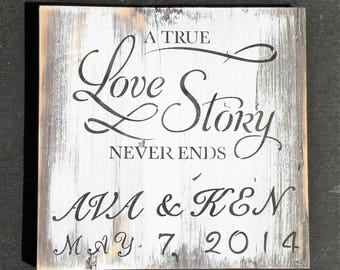 Custom Name Date White Washed Gray Sign, Personalized Distressed Wood Love Story Painting, Rustic Wedding Sign, A True Love Story Never Ends