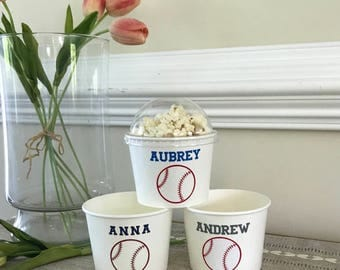 Baseball Party Snack Cups, Softball Birthday, Team Party, Ice Cream Cup, Popcorn Cup, 12 oz. Hot Cold Cup, Sets of 8, 10, 12, 15, and 25