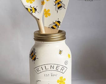 Busy Bumble Bee Shabby Chic Hand Painted 1 Litre Kilner Jar Set Kitchenwear Homewear