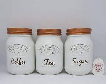 Set of 3 White/Copper Tea Coffee Sugar Kilner Kitchen Canister set House Warming/Wedding/Engagement Gift
