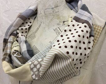 Beige and Cream Recycled Fabric Patchwork Cotton Scarf