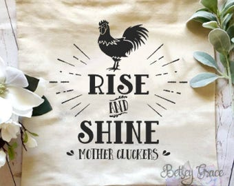 Rise and shine mother cluckers humorous farmhouse decorative pillow cover