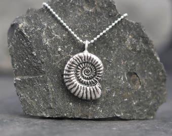 Silver Ammonite Pendant - Silver Fossil Necklace - Alternative pendant - Goth Pendant - Earthy - Organic