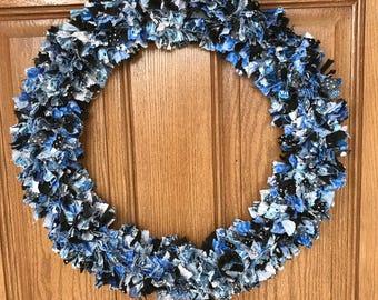 SALE! / Blue Fabric Wreath / Blue Door Wreath / Blue Wreath for Front Door / Blue Front Door Wreath / Black Fabric Wreath / Blue Door Decor