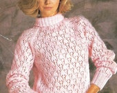 knitting pattern womens ladies lace knit sweater jumper sizes 3040 in double knitting pdf