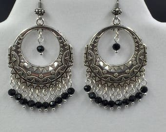 Bali Style Hoop Chandelier Earrings