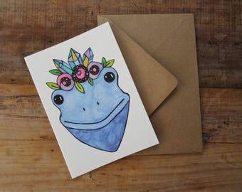 FROG BIRTHDAY CARD ~ Blue Tree Frog Illustration ~ Magical Greetings Card ~ Watercolour Frog ~ Whimsical Gift ~ Magical Birthday Card